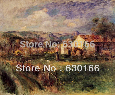 Unframed Wall Paintings - Young Woman Standing Near a Farmhouse in Milly by Pierre Auguste Renoir Wall PaintingUnframed Wall Paintings - Young Woman Standing Near a Farmhouse in Milly by Pierre Auguste Renoir Wall Painting
