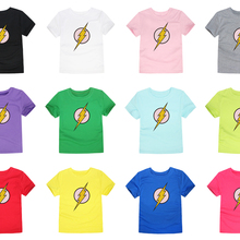 3898303dc19 2018 Summer Short Sleeve T-Shirt Boys Girls Flash T Shirt Children Tops  Baby Kids Tees For 2-14 Years 12colorsUS  1.72