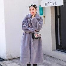 Faux Fur Loose Lapel Long Coat RK