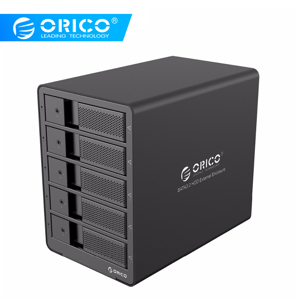 Boîtier de disque dur SATA ORICO aluminium USB3.0 5 baies 3.5 pouces 50 to Max avec adaptateur secteur 12V6. 5A sans outil