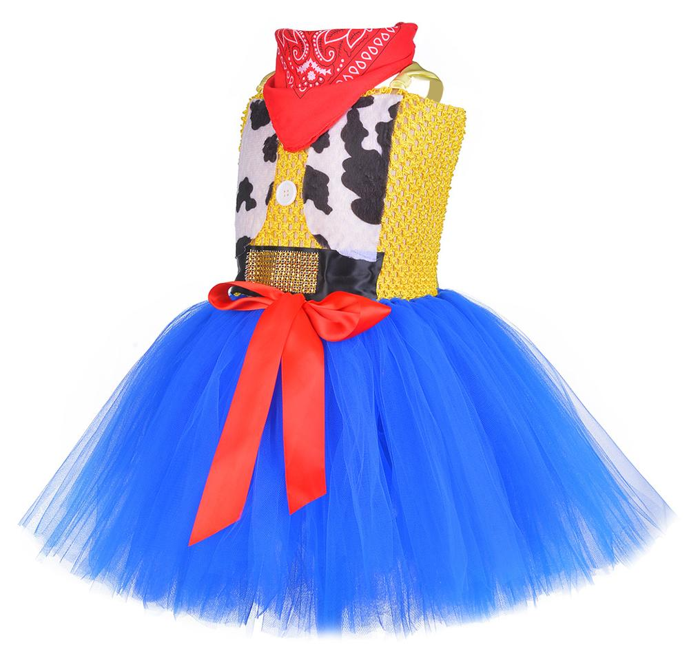 Image 3 - Toy Woody Cowboy Cowgirl Girls Tutu Dress with Hat Scarf Set Outfit Fancy Tulle Girl Birthday Party Dress Kids Halloween Costume-in Girls Costumes from Novelty & Special Use