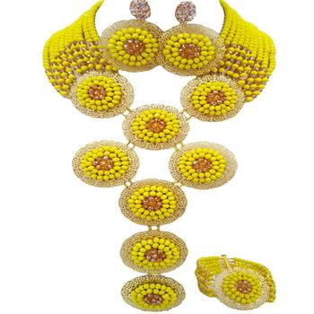 Nigerian Wedding Opaque Yellow Champagne Gold Women Crystal Beads Bridal Jewelry Sets 10C-9PH-08