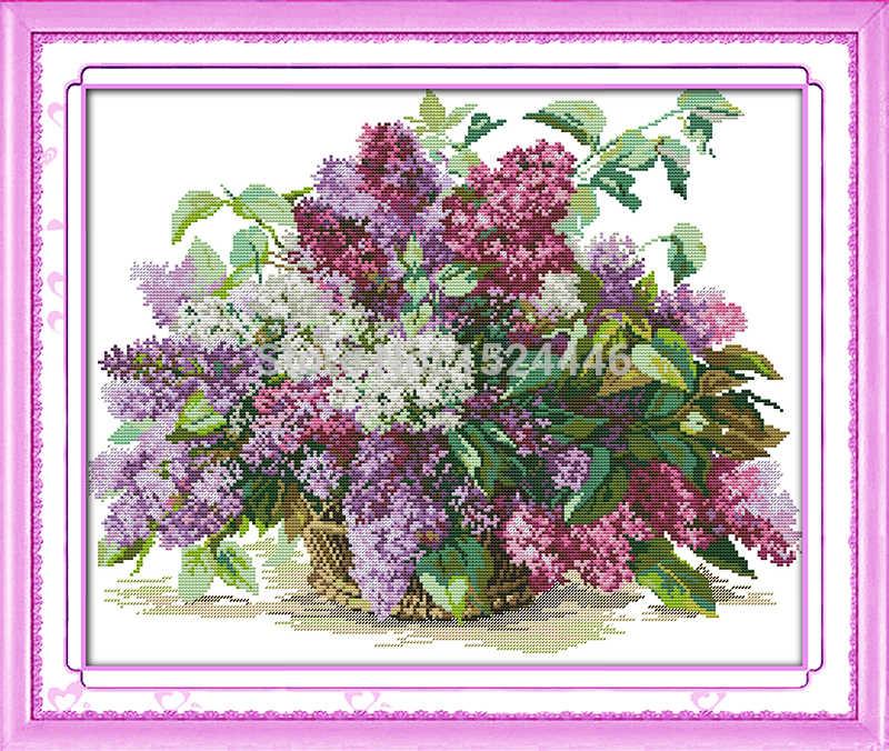 美しい花ライラック、 11CT パターンキャンバス DMC 14CT クロスステッチキット、針仕事刺繍セット、 DIY 工芸家の装飾