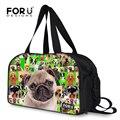 FORUDESIGNS Diseñador Mujeres bolso de Mano El Equipaje Francés Lindo Pug Dog Impresión Bolso Del Equipaje de Gran Capacidad de Bolsa de Viaje de Lona