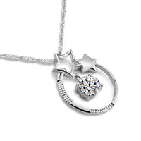 High Quality Fashion Brand Jewelry Solid 925 Silver 5A Zircon Star Pendant Necklace Charm Woman Sterling