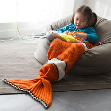 цены на Kids knitted mermaid tail Blanket nemo fish sleep wrap nap air conditioning sofa blanket warm soft comfortable breathable