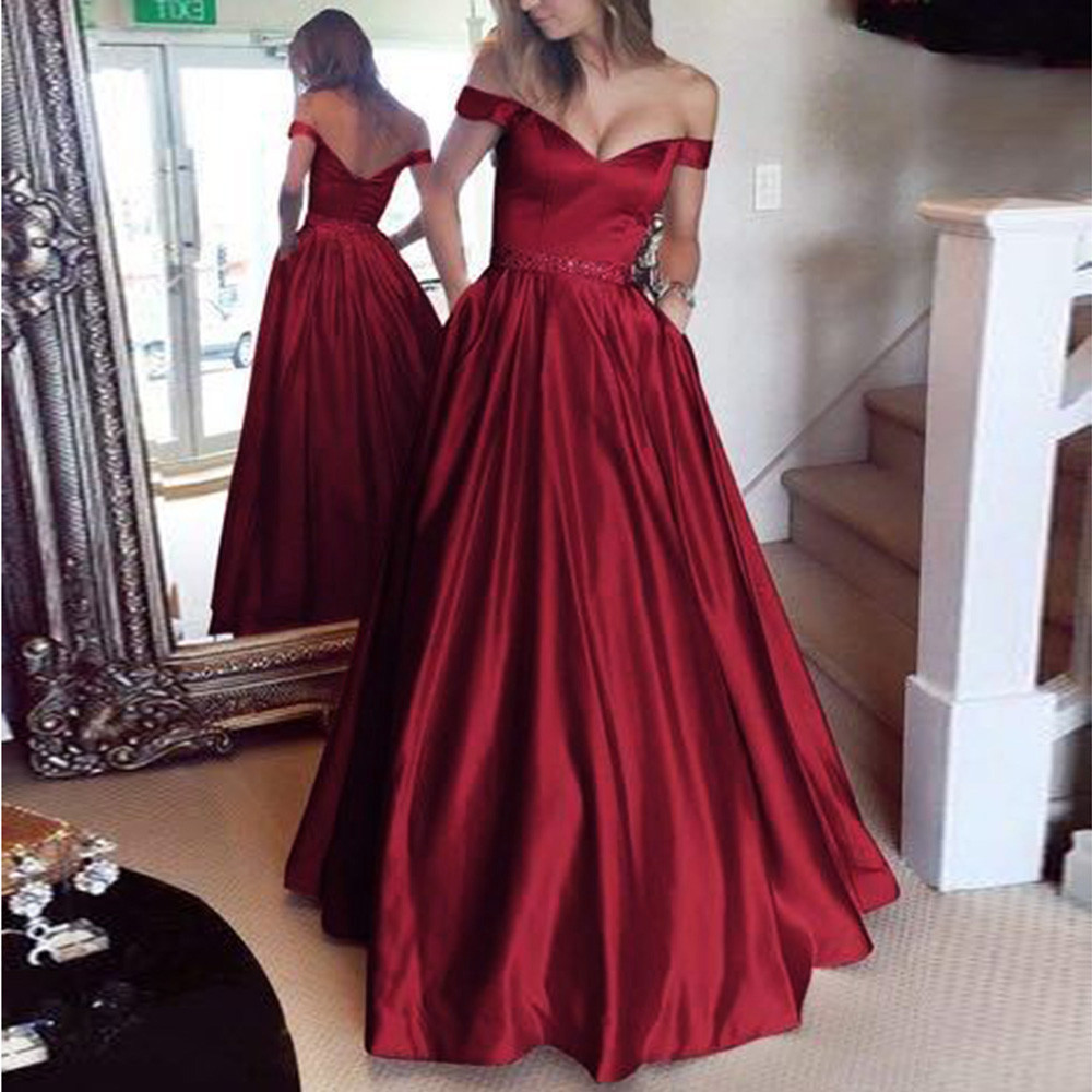 FeiTong Backless slash neck solid long dresses Ruffles high waist women dresses Evening party female sexy dress vestidos 2019