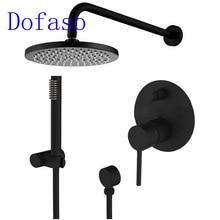Dofaso Brass Bathroom Black Shower Set Faucet Ceiling Wall Shower Arm Diverter Mixer Handheld Spray Sets 8