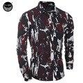 Vestido de la marca 2016 Camisas de Vestir Para Hombre Slim Fit Camisas Masculinas Camisa de Los Hombres de Camuflaje Selva Heren Hemden Camisa Masculina