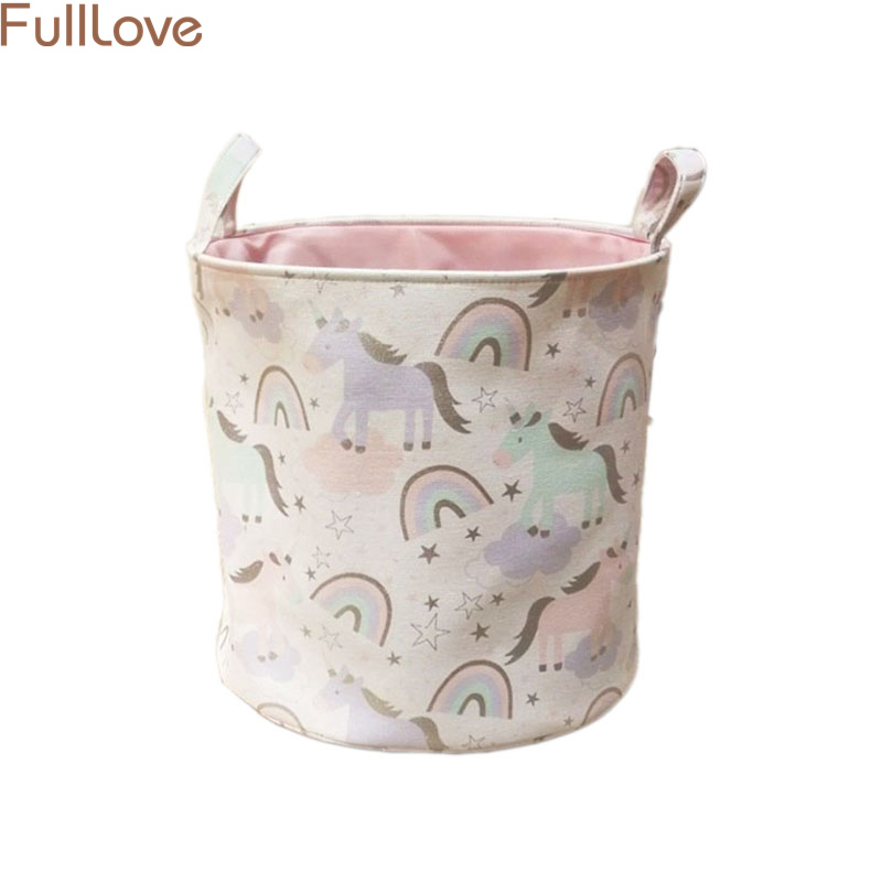 Cute Animal Collapsible Toy Storage Organizer Folding: 40*33*40cm Cute Unicorn Printed Storage Basket Clothes