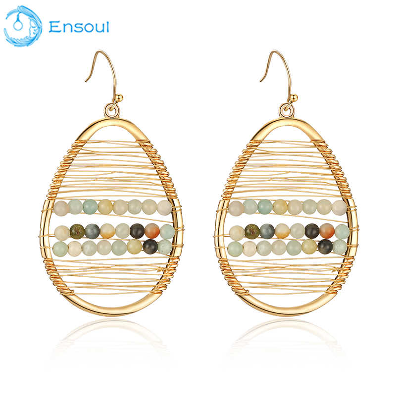 Ensoul Newest Design Oval Copper Wire Winding And Beads Earing For Women Fancy Earrings Women's Fashion Jewelry EER-0398