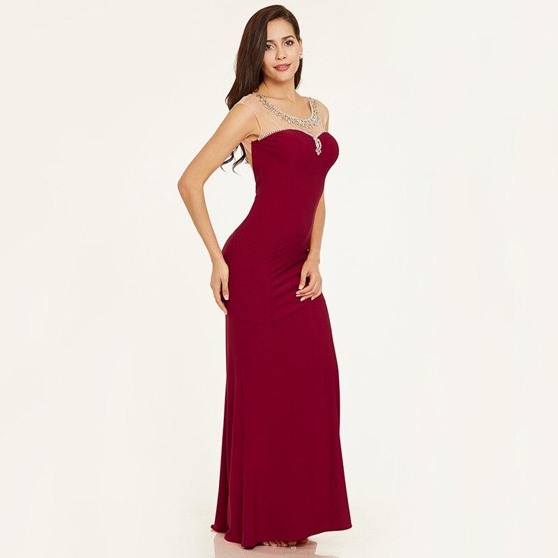 Tanpell beaded kveldskjole elegant rød hette ermer rett gulv lengde - Spesielle anledninger kjoler - Bilde 2