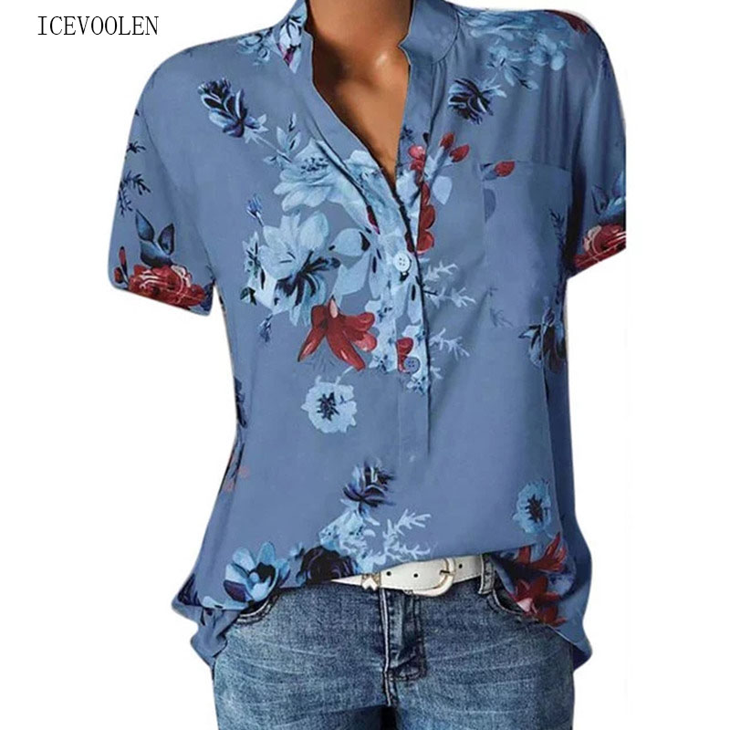 Elegant Women's Shirt Printing Large Size Casual Shirt Fashion V-neck Short-sleeved Shirt Blouse