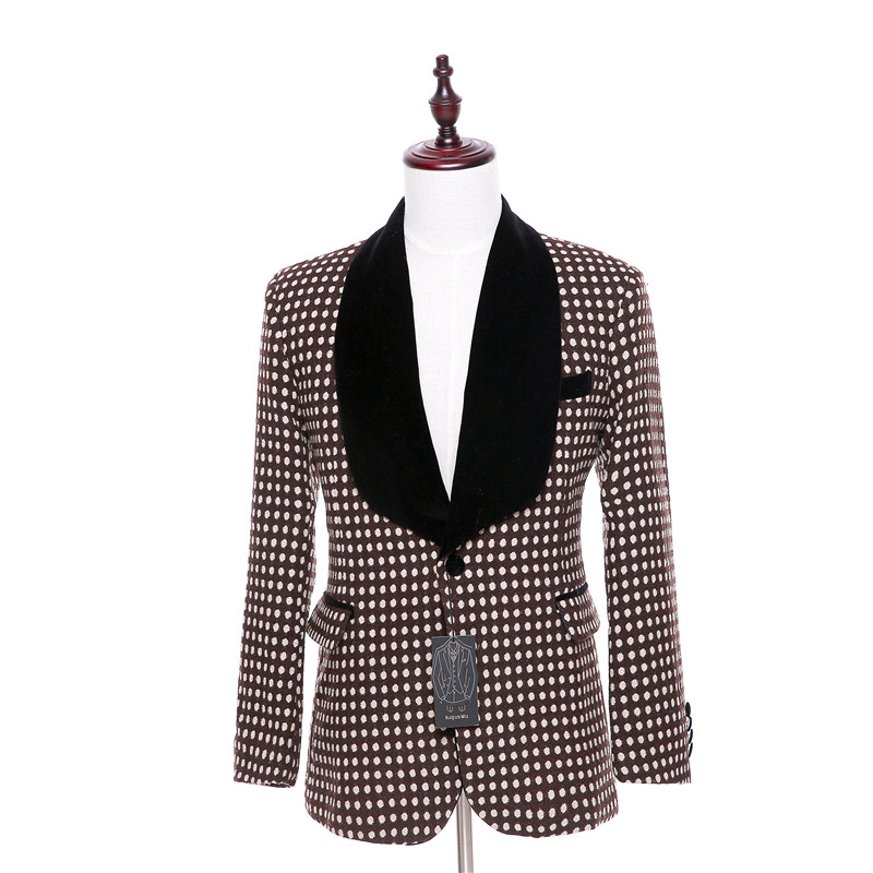 New Fashion Formal Men Suits Jacket Blazers Black Velvet Lapel Single Breasted Brown and Ivory Dots Pattern England Coat Custom