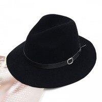 الجملة قبعات مزيج الألوان الجميلة القبعات الصوف فيدورا سوداء النساء الشتاء الخريف قبعة واسعة بريم فيدورا حزام أنيق فيدورا