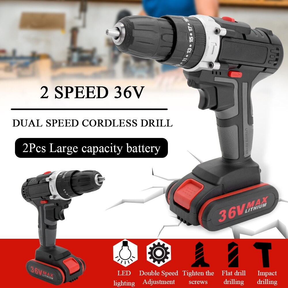 Professional 36V Electric Impact Cordless Drill Battery Wireless Rechargeable Home DIY Electric Power Tool