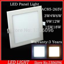 10pcs/Lot 3W/4W/6W/9W/12W15W/18W dimmable Led Panel Light Square ceiling 90LM/W High SMD LED light AC 85-268V