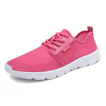 купить Summer Air Mesh Sneakers Women Sport Shoes Lace-Up 2019 Fashion Mesh Round Cross Straps Flat Sneakers Running Shoes Casual Shoes дешево