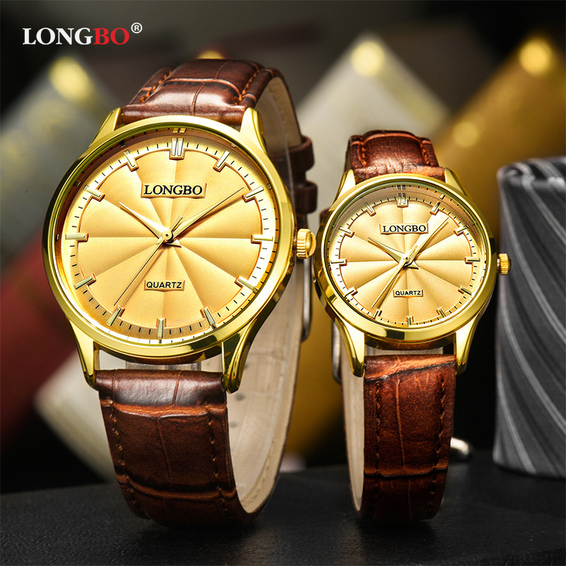 Longbo 2019 Couple Watches Lover Quartz Wristwatches Gold Si