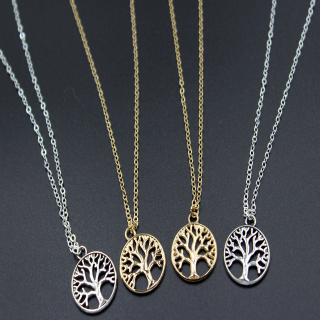 Boho vintage silver gold color tree of life necklace for women boho vintage silver gold color tree of life necklace for women charms fashion hollow circle necklaces aloadofball Choice Image