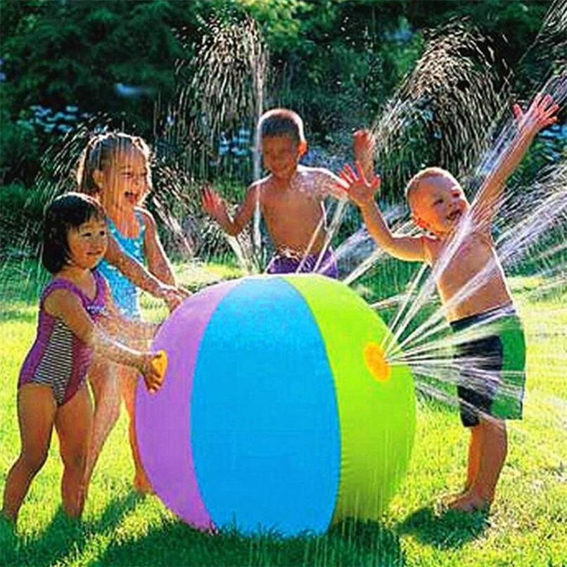 Abbyfrank 60CM Colorful Inflatable Spray Water Ball Sprinkling Outdoor Lawn  Ball Summer Swimming Beach Pool Play