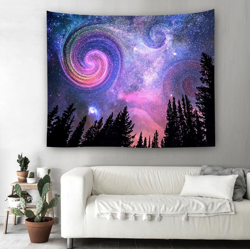 Graceful Night Starry Sky Beautiful Sight Printed Tapestry Wall Hanging Tree Natural Scenery beach toiwel Living Room Decor