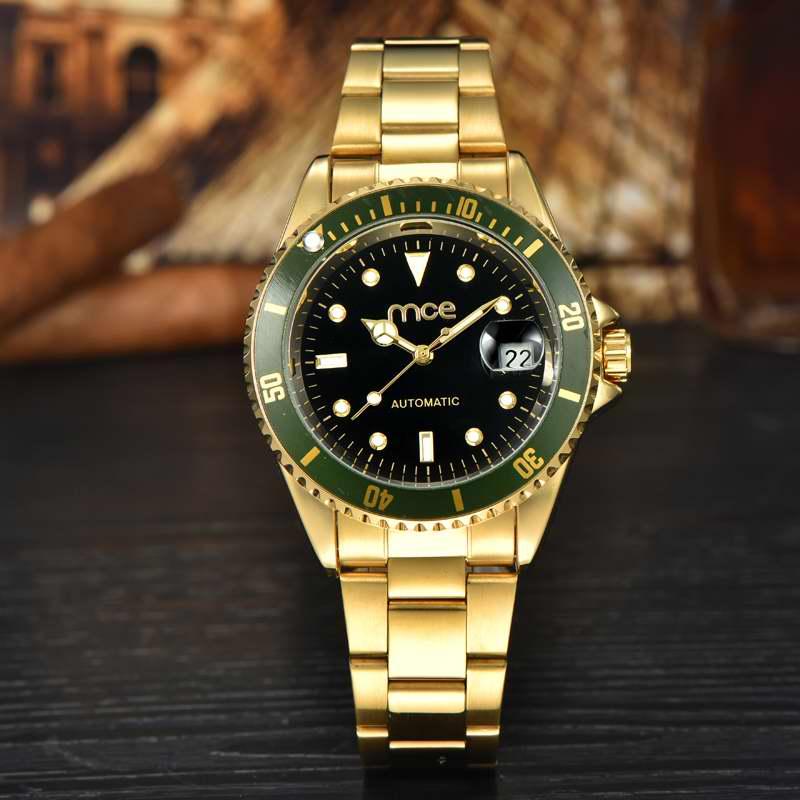 Prix pour Vente chaude De Luxe D'or Lumineux Automatique Mécanique Disques Rotateurs En Acier Inoxydable Bande Montre-Bracelet Femmes Meilleur Cadeau MCE Horloge