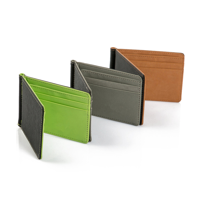 Leather Men Money Clip Wallet Solid Male Purses Designer Clip Cash Holder Card Cases Fashion Slim Wallet ID Credit Card Case wallet