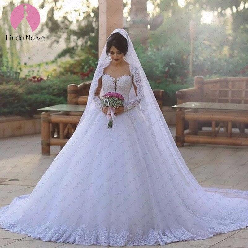 Luxury Ball Gown Wedding Dresses 2019 Long Sleeves Robe De Mariage Sheer Bridal Dress Brautkleid Online Shop Wedding Dress
