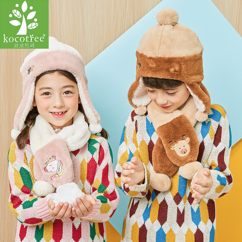 Kocotree fashion children hat scarf suit boy girl winter hat scarf two sets of baby wool ear cover kids cute unicorn hat in Scarf Hat Glove Sets from Mother Kids