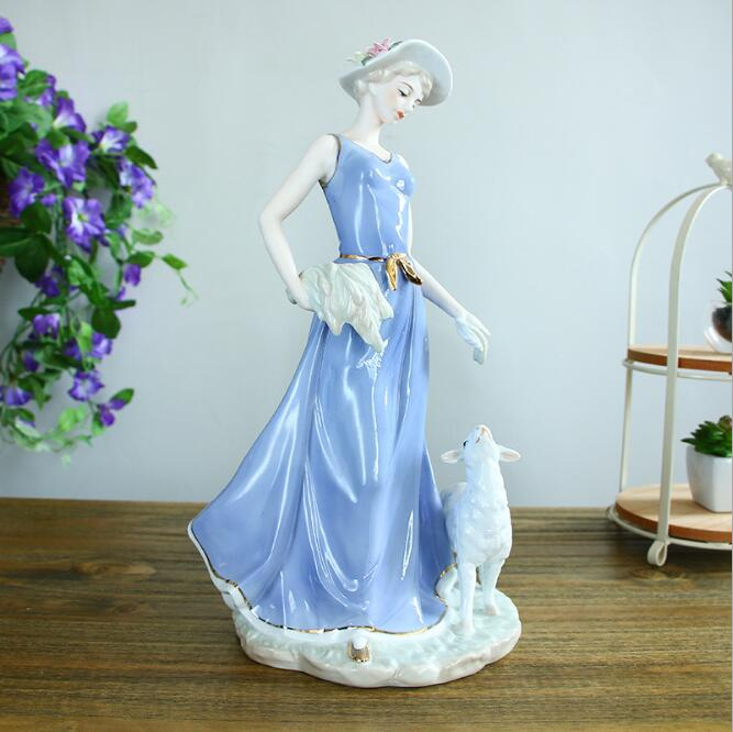 Personnages en céramique européens ornements cadeaux de mariage pour envoyer des ornements d'enfant artisanat cadeaux de fête des mères cadeaux de mariage 05112 - 5