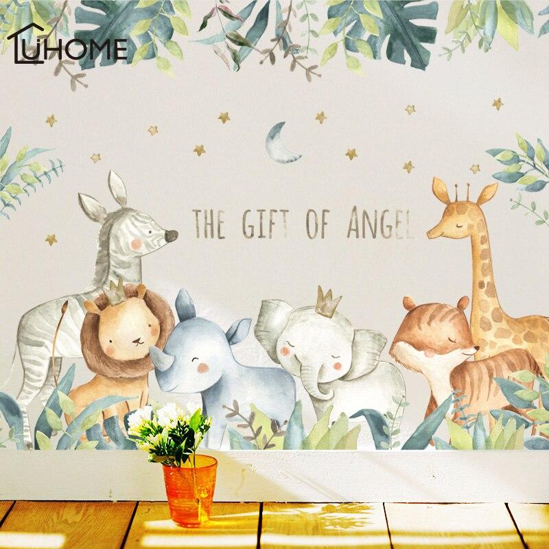 Cartoon Wall Stickers for Kids Rooms Giraffe Lion Fox Elephant Animal Home Decals Nursery Kindergarten Baby Room Home Decor