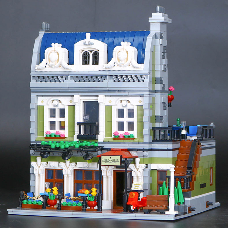 Lepin 15010 Expert City Street Parisian Restaurant Model legoing Educational Building Bricks Blocks Funny Toy Compatible 10243 lepin 15009 city street pet shop model building kid blocks bricks assembling toys compatible 10218 educational toy funny gift