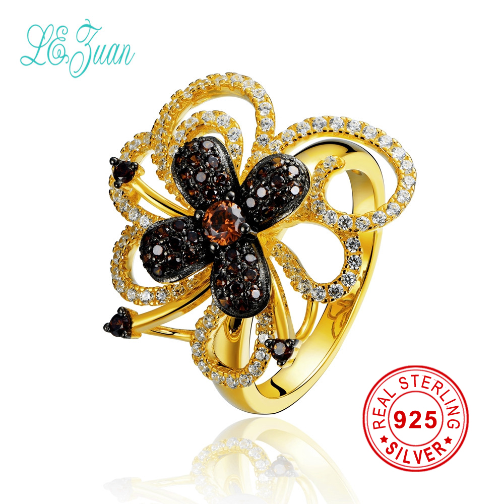 l&zuan 925 sterling silver rings for women bague femme multicolor zircon flower 24k gold rings party christmas gift fine jewelry fashion party jewelry rings for women gold color cz snake dames ringen design christmas gift bague femme open rings ka0167