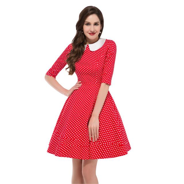 Black Red Half Sleeve Doll Collar Polka Dot 50s Retro Skater Tunic Vintage clothing womens summer dresses 2016 summer Vestidos