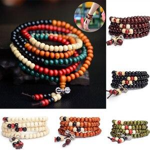 Image 2 - 108 Beads 8mm Natural Sandalwood Buddhist Buddha Wood Prayer Bead Male Unisex Men Bracelets & Bangles Jewelry Bijoux