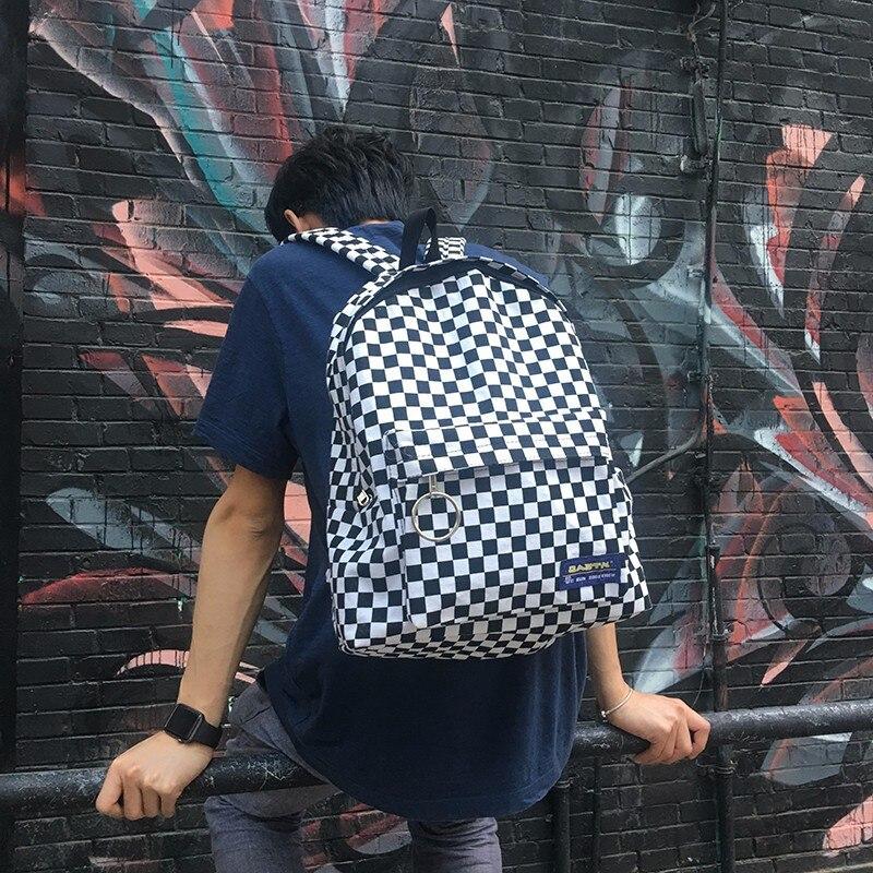 2018 Neue Schwarz Und Weiß Plaid Harajuku Stil Rucksack Koreanische Version Der Neue Label Plaid Retro Mode Tasche