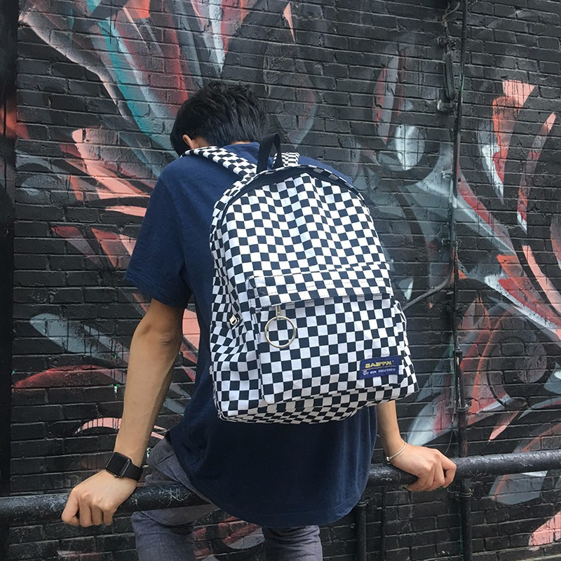 2018 New Black And White Plaid Harajuku Style Backpack Korean Version Of The New Label Plaid Retro Fashion Bag