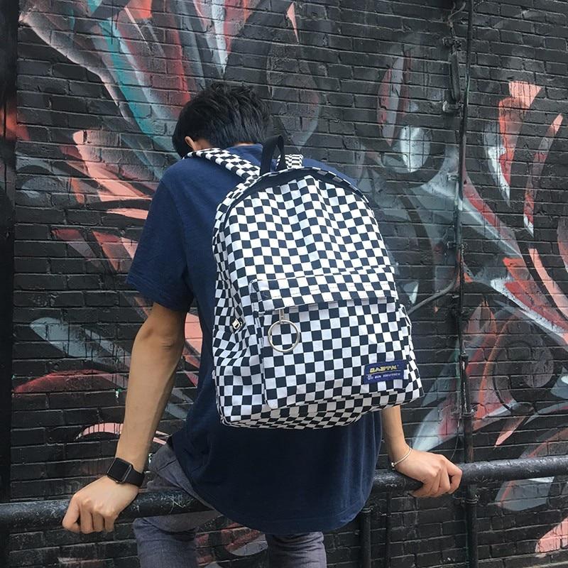 2018 new Black and white plaid Harajuku style backpack Korean version of the new label plaid retro fashion bag2018 new Black and white plaid Harajuku style backpack Korean version of the new label plaid retro fashion bag