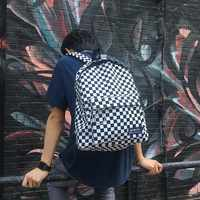 2018 new Black and white plaid Harajuku style backpack Korean version of the new label plaid retro fashion bag