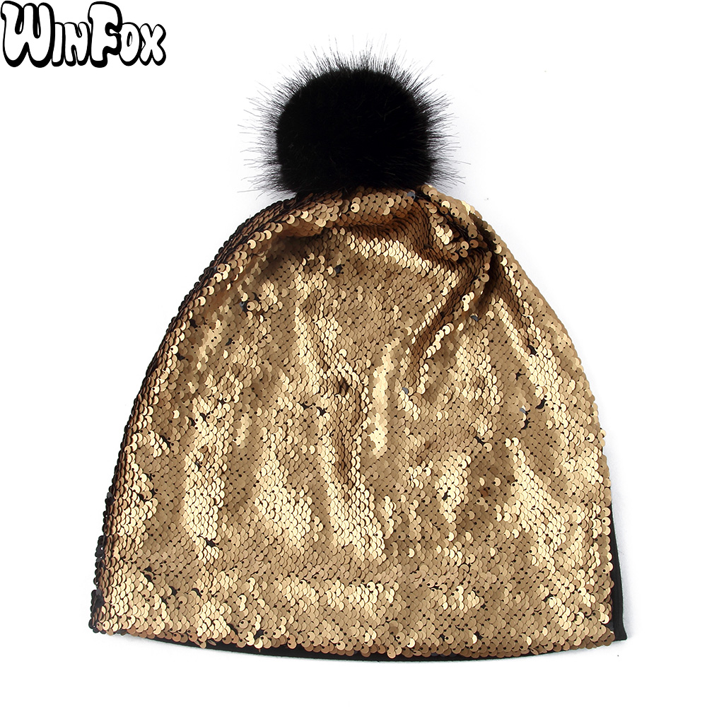 Winfox New Mens Spring Fur Pom Pom Black Gold Sliver Color Metallic Sequins Skullies Beanies Hats Bonnet Womens Cap Hat Gorro