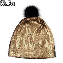 Winfox New Mens Spring Fur Pom Black Gold Sliver Color Metallic Sequins Skullies Beanies Hats Bonnet Womens Cap Hat Gorro