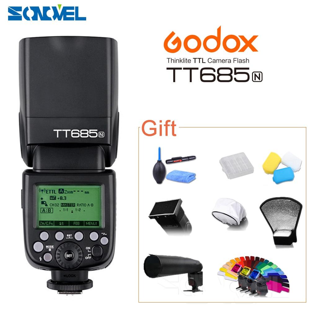Godox TT685N GN60 zibspuldze Speedlite HSS 1 / 8000s TTL priekš Nikon D800 D700 D7100 D5000 D5100 D5000 D70S D810 D90