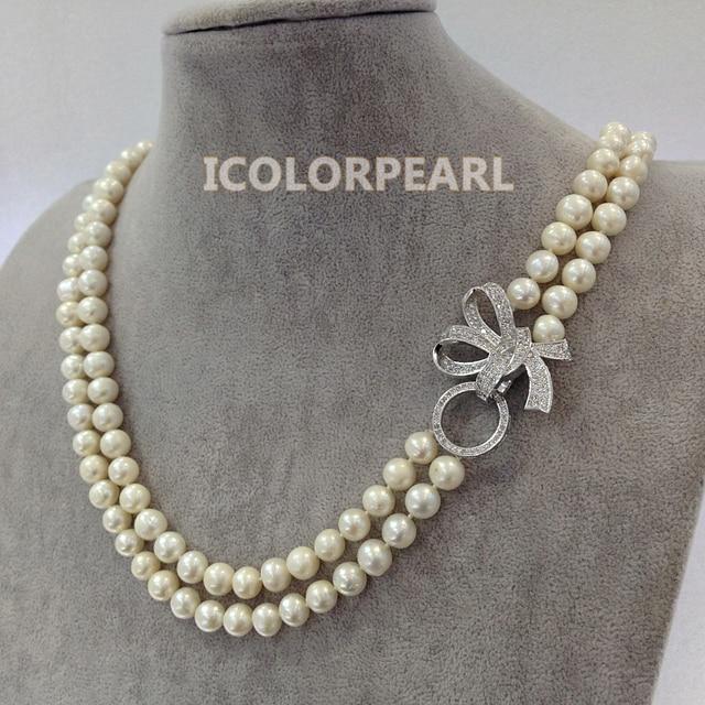 Dos Strand 8-9mm Nearround Blanco Cultivadas de Agua Dulce Naturales Collar de Perlas Con Un Agradable Rhinestone de La Mariposa Broche