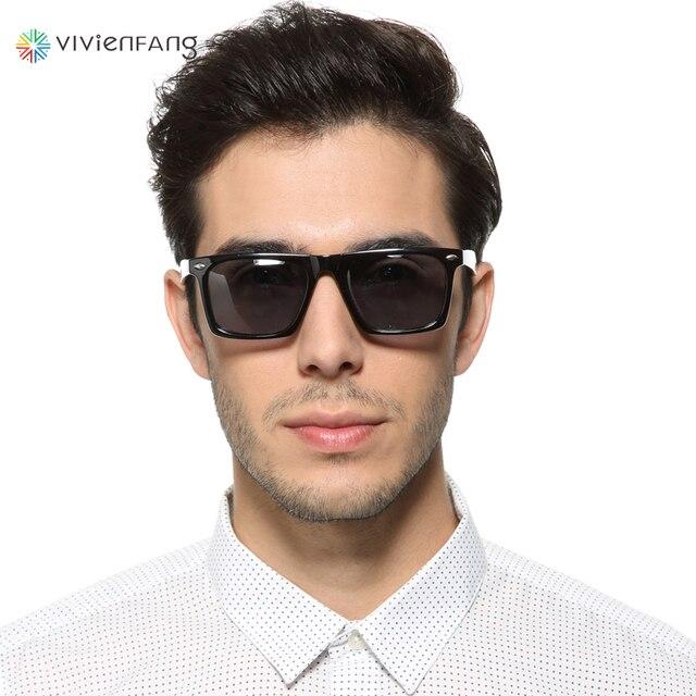 48ed35fe71 Vivienfang Classic Polarized Wayfarer Sunglasses Square Plastic Frame Male  Driving Sun Glasses