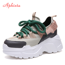 Aphixta Platform Shoes Woman Height Increasing Ankle Boots Mixed Colors Lycra Lace-up Girls Student Shoes Lycra Fashion Boots