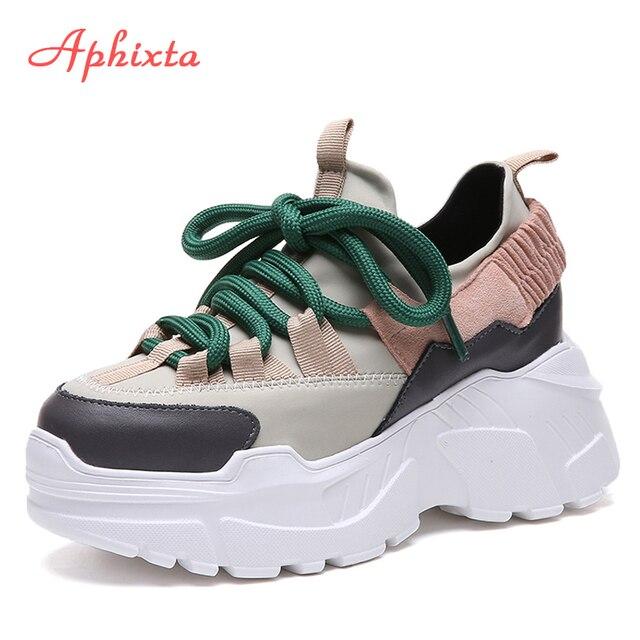 Aphixta/обувь на платформе; женские ботильоны, увеличивающие рост; смешанные цвета; лайкра; обувь для учащихся на шнуровке; модные ботинки из лайкры