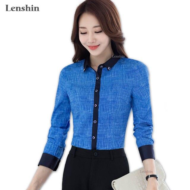 Lenshin женщины Пейсли геометрический рубашка синяя блузка модные Стиль топы с длинными рукавами контрастный воротник и манжеты