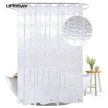 UFRIDAY 3D Water Cube Shower Curtain with Magnets Waterproof Mildew Resistant for The Bathroom Clear Plastic PEVA Bath Curtain hippo shadow water resistant fabric shower curtain
