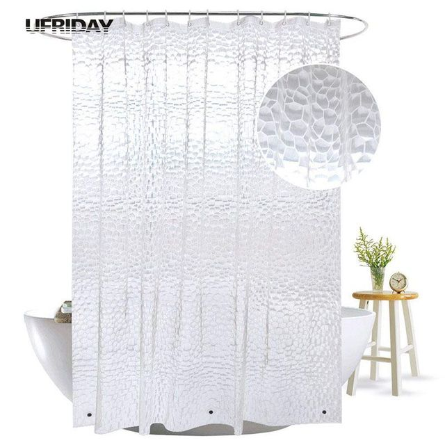 Attrayant UFRIDAY 3D Water Cube Shower Curtain With Magnets Waterproof Mildew  Resistant For The Bathroom Clear Plastic